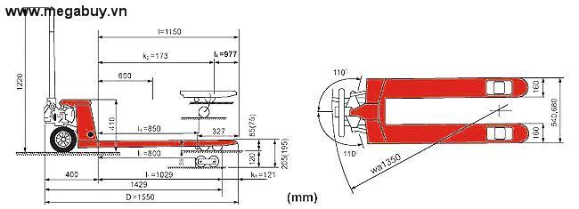 Xe nâng tay Hand Pallet Truck HPT-A20/HPT-A25/HPT-A30